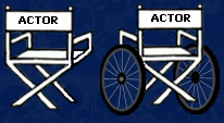Actors' chairs - wheelchair and able bodied chair